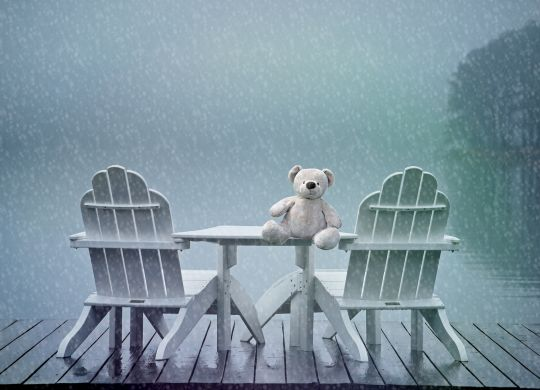 lonely teddy feeling blue in rain